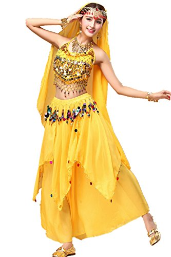 YYCRAFT Women Halloween Halter Top Skirt Costume Set Belly Dance Outfit Yellow ()