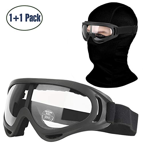 COOLOO Balaclava & Ski Goggles Sets, Ultralight Balaclava Face Mask Windproof Ski Mask Hood + UV400 Protection Anti-Fog Ski Goggles for Cycling Biking Ski and Snowboard