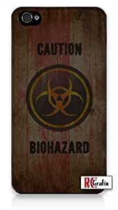 CAUTION Distressed Bio-Hazard Symbol - Biohazard iPhone 5 Quality Hard Snap On Case for iPhone 5/5s - AT&T Sprint Verizon - White Case