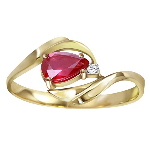 Galaxy Gold 0.51 Carat 14K White Yellow Rose Solid Gold Ring with Pear Shape Natural Ruby and Round Diamond (Yellow-Gold, 9)