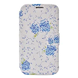 ZCL Small Fresh Blue Florals Pattern Leather Case with Holder & Credit Card Slots for Samsung Galaxy Note 2 N7100