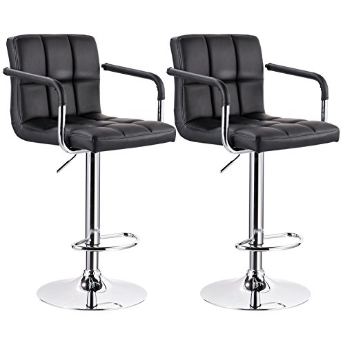 WOLTU ABSX1003blk-c Swivel Adjustable Bar Stools With Armrest,Synthetic Leather Hydraulic Counter Stools Air Lift with padding Black Set of 2 Lift Swivel Counter Stool