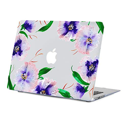 MacBook Air 13.3 inch Case Floral, Watercolor Flower Clear Case for A1466 A1369 MacBook Air 13 inches Year 2010-2017, Rubberized Soft-Touch Matte See Through Hard Shell Case with Keyboard Cover