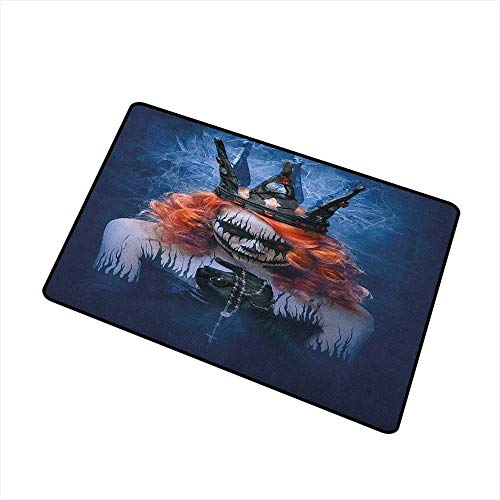 Wang Hai Chuan Queen Inlet Outdoor Door mat Queen of Death Scary Body Art Halloween Evil Face Bizarre Make Up Zombie Catch dust Snow and mud W19.7 x L31.5 Inch Navy Blue Orange Black ()