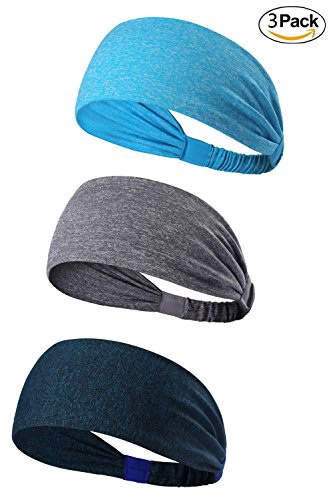 3PACK Lightweight Sport Headband/Non-slip Sweat Band - Stretchy Bandana Headwear - Best for Running Cycling Hot Yoga and Athletic Workouts - Fashion Elastic Hair Band for Women Men Teens Toddlers Girls (blue melange, grey melange, navy melange)