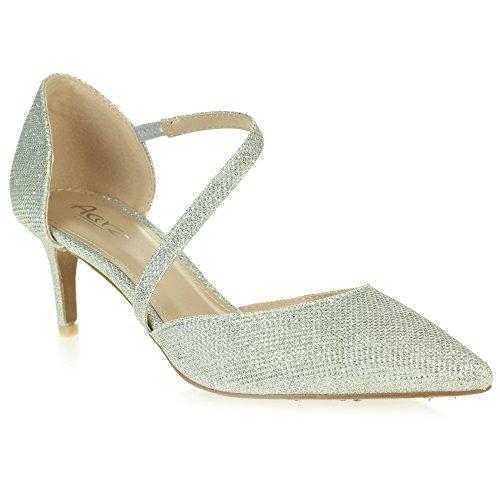 Mujer Señoras Noche Boda Fiesta Paseo Punta puntiaguda Medio Kitten Heel Sandalias Zapatos Tamaño Plata