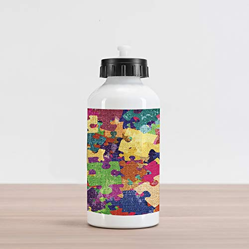 (Lunarable Grunge Aluminum Water Bottle, Grunge Illustration with Colorful Jigsaw Puzzles Stationery Artistic Design Print, Aluminum Insulated Spill-Proof Travel Sports Water Bottle, Fuchsia Green)