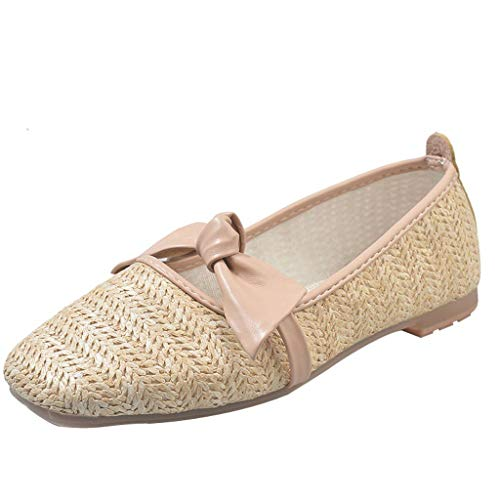 Toponly Women's Loafers Rattan Grass Square Toe Flats Casual Moccasins Wild Soft Dance Driving Casual Oxfords Pink
