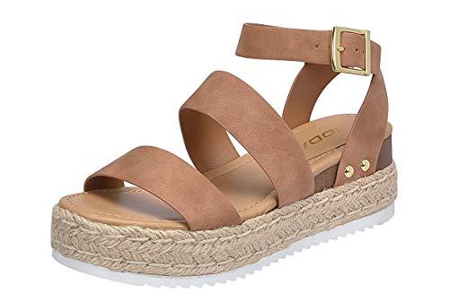 Tan Dark - SODA Women's Open Toe Ankle Strap Espadrille Sandal (10, Bryce-tan)