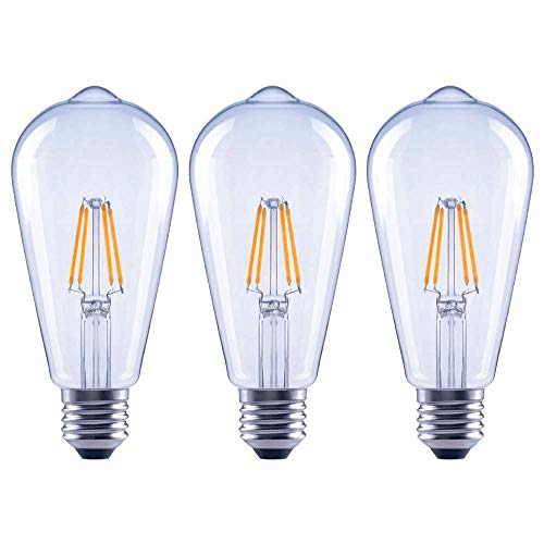 Asencia AN-03674 40 Watt Equivalent ST19 Clear All Glass Vintage Filament Dimmable LED Light Bulb, Soft White, 3-Pack