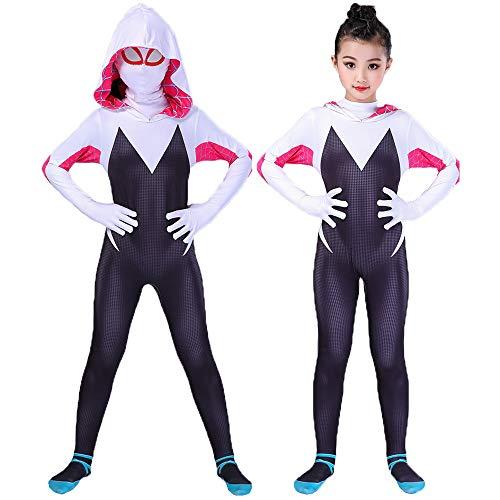 Spider Gwen Stacy Spandex Lycra Zentai Spiderman Costume for Halloween Cosplay Female Spider Suit Anti-Venom Gwen Girl Black