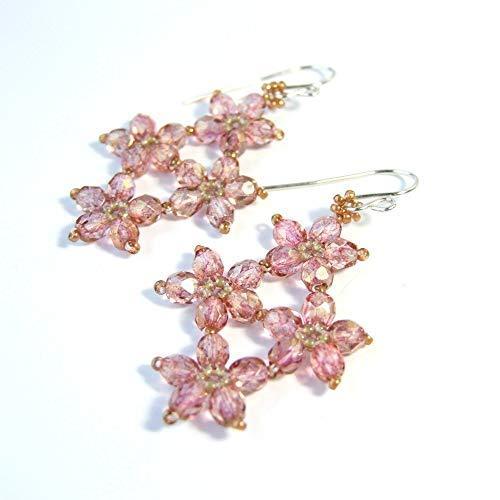 Iris Flower Earrings - Pink Glass Flower Boho Beaded Dangle Drop Unique Woven Earrings Handmade Vintage Style Statement Jewelry Gifts for Her
