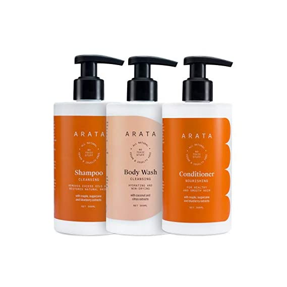 Arata Natural Shower Power set for Men & Women with Cleansing Shampoo,Body Wash & Hair Conditioner || All Natural,Vegan