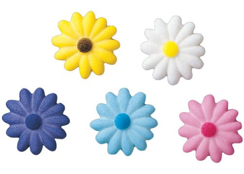 Lucks Dec-Ons Decorations Molded Sugar/Cup-Cake Topper, Medium Daisies Assortment, 1.125 Inch, 300 Count