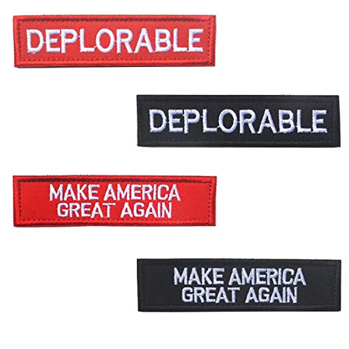 4PCS Make America Great Again Deplorable Donald Trump Emblem Embroidered Badge Fastener Hook & Loop Patch Sew-on Patches DIY Appliques