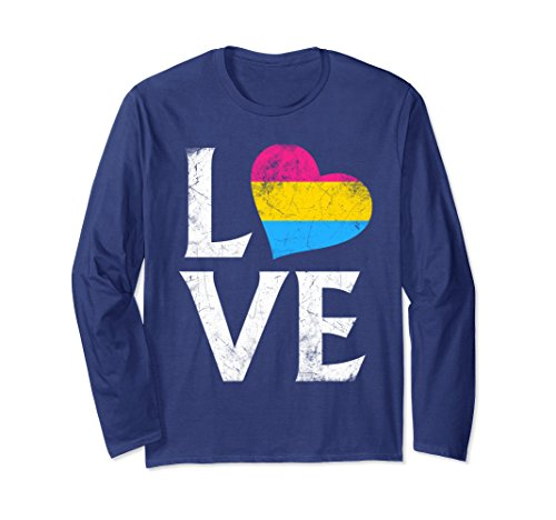 (Unisex Pansexual Pride Flag Heart Stacked Love Long Sleeve T-Shirt Large Navy)