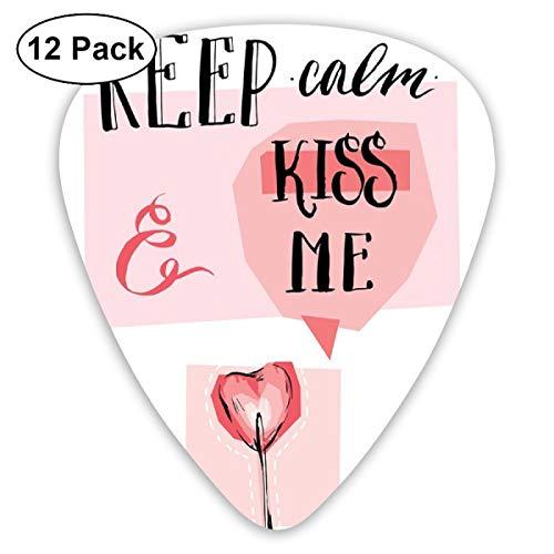 Guitar Picks 12-Pack,Kiss Me Speech Bubble Heart Shape Lollipop In Pink Pastel Colors Romantic -