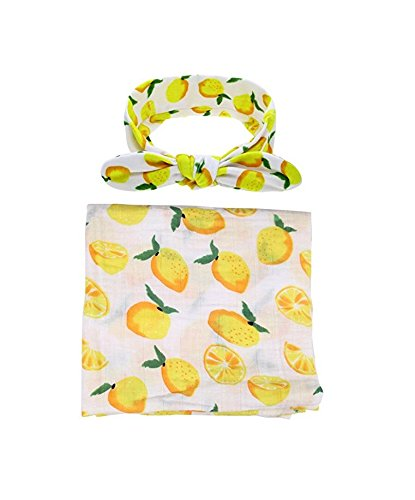 Newborn Baby Girl Swaddle with Lemon Fruit