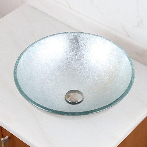 Hand Painted Foil Round Bowl Vessel Bathroom Sink Drain Finish: Chrome -
