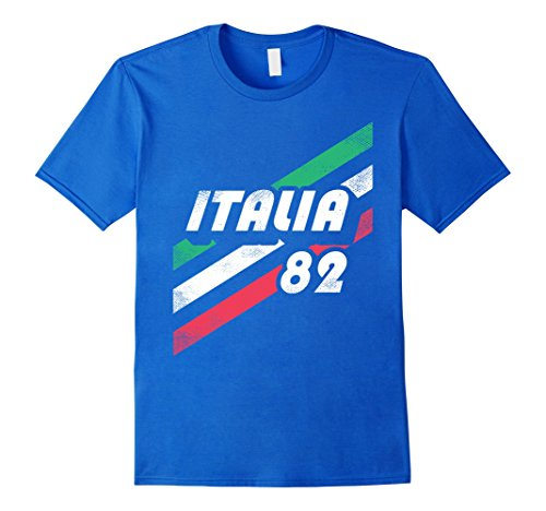 Mens Italia Retro T-Shirt: Italian 80's Vintage-Look Italy Flag XL Royal (The 80's Look)