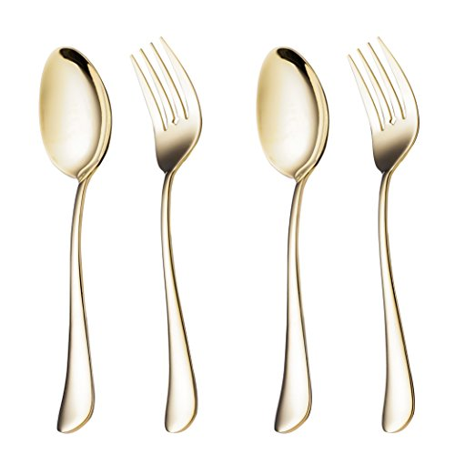 4 Piece Vegetable Spoon and Serving Fork 8.7-inch Serving 2 Set Stainless Steel Large Table Flatware set Dishwasher Safe for Buffet, Banquet, Party (Gold) Holiday Tablespoon