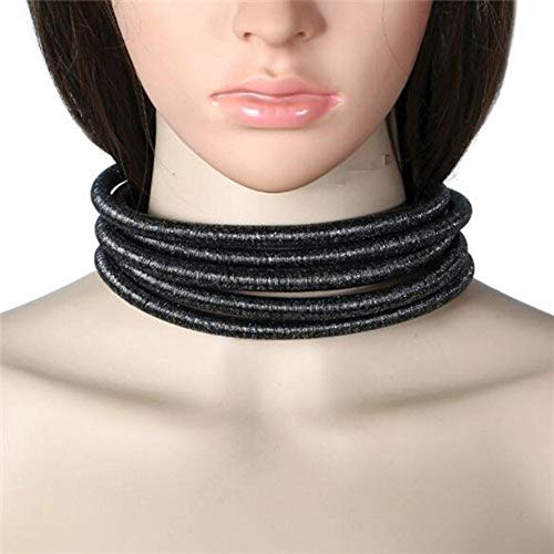 Style Celebrity Jewelry (Ooh La La Jewels And Beyond Stylish Celebrity Style Multi Layered Coil Rope Gold Black Choker Necklace (Black Gold))