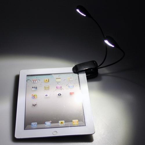 [해외]듀얼 2 암 4 LED 책 읽기 뮤직 스탠드 라이트 램프에 클립/Clip on Dual 2 Arm 4 LED Book Reading Music Stand Light Lamp