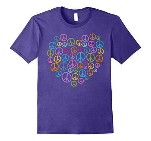 [Mens PEACE SIGN LOVE T Shirt 60s 70s Tie Die Hippie Costume Shirt 2XL Purple] (60s Fashion Mens)