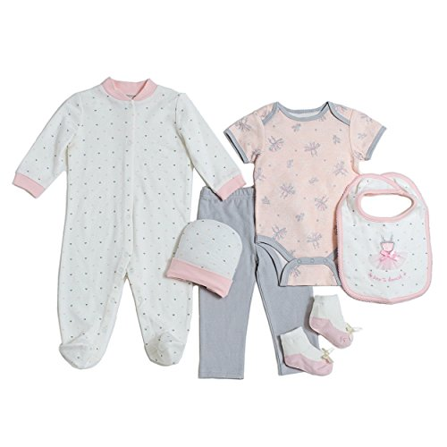 Kyle & Deena Newborn Baby Girl Ballerina 6PC Essential Set, 3-6M (Dress Onesie Ballerina)