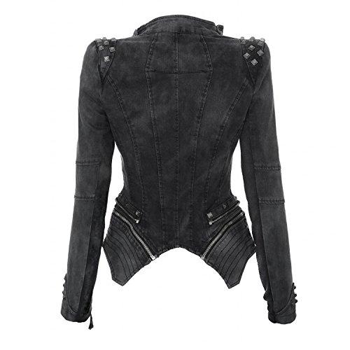 Donna Annata Biker Blazer Cappotti Cappotto Di Grigio Punk Jeans Denim Giacca Zip Rivetto 1pgqfwUU5