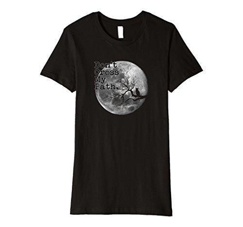 Womens Halloween Black Cat Moon Novelty PREMIUM t-shirt Small Black
