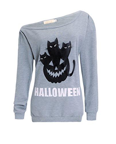 Guandiif Womens Halloween Sweatshirts Off Shoulder Pullover Slouchy Shirt Sweatshirts Gray (Halloween Jumper)