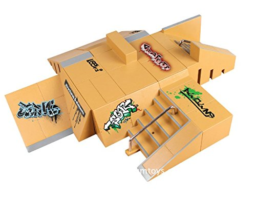 Skate Park Kit,11pcs Mini Finger Skateboard Park Ramp Parts for Tech Deck ()