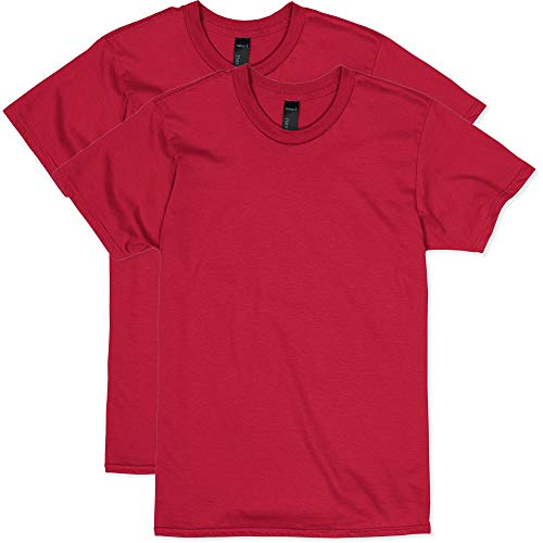 Red T-shirt - Hanes Men's Nano Premium Cotton T-Shirt (Pack of 2), Deep Red, X-Large
