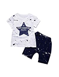 Fanteecy Shorts Set, Summer Baby Boys Star Letter Print Short Sleeve T-Shirt Tops Shorts Beach Outfits Toddler Kids Clothes