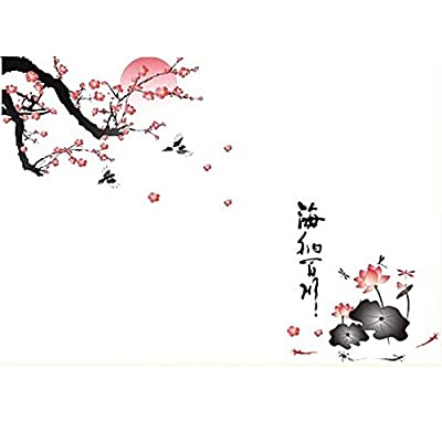 Flying Fish Removable All River Into the Sea Plum Blossom Lotus Flowers Birds Chinese Wall Sticker for Living Room (Size:90X60cm)