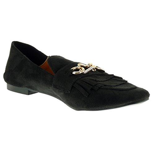 D'or Cm on De Mocassins Frange Mode Noir De 1 Féminine Bloc Slip Chaînes Angkorly Talon Chaussures w76A0qA
