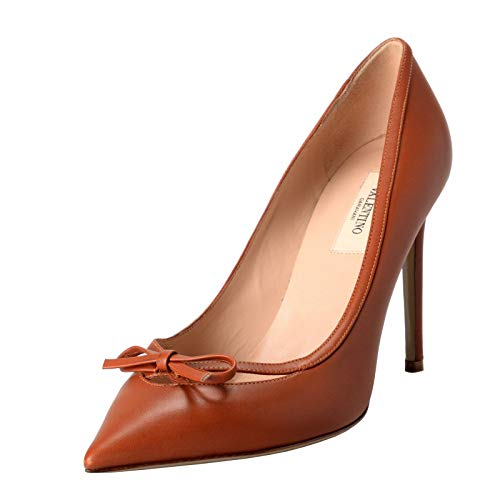 VALENTINO Women's Leather Bow Cognac Pumps High Heels, used for sale  Delivered anywhere in USA