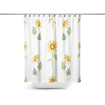 ABin Hand Painted Sunflower Background Shower CurtainsWater Repellent Anti Bacterial Waterproof Mildew Resistant Fabric With 12 Curtain Hooks