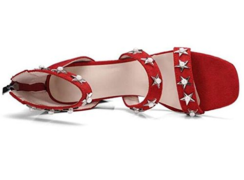 GAOGENX Roma da Heel scamosciato EU41 Pentagramma Perline a sandali 35 donna 41 Block Deduzione Da Vestito rivetti Scarpe 8WrqxwR58P