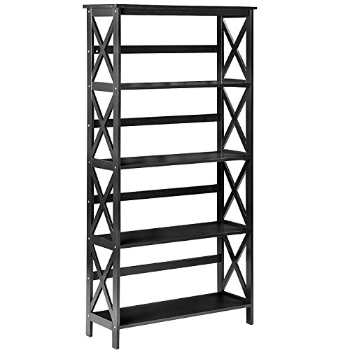 Merax Wood 5-Shelf Wide Bookcase Rack Shelving Unit