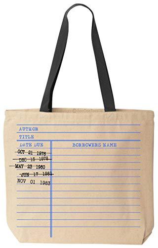 BeeGeeTees Library Card Book Bag Tote Vintage Date Due Stamp Bag (Black Handle)