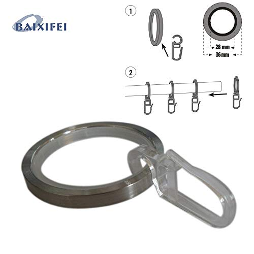 Agennix Store 50 Pcs D35mm Stainless Steel Rings with Sliding Insert and Folding Hook Curtain Rod Rings for Window Decoration