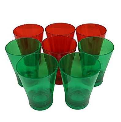 HOMEIO Premium Restaurant Cups - Classic Party Drinkware for Mixed Drinks and Alcohol - Unbreakable Plastic -(4 Red And 4 Green Mix, Holiday Special)