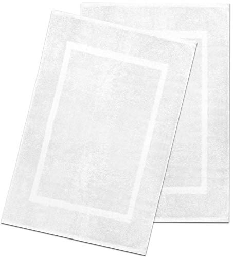 Alurri Bath Mat Set - 2 Pack - White 20'x30' - Shower/Bathtub Step Out Reversible Towel Like Mat...