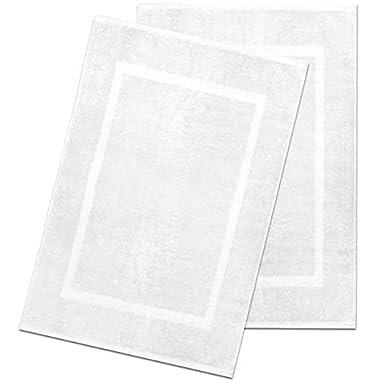 Alurri Bath Mat Set - 2 Pack - White 20 x30  - Shower/Bathtub Step Out Reversible Towel Like Mat [NOT A Rug]| Soft Cotton Machine Washable & Super Absorbent Hotel Spa Bathroom Floor Towel Mats