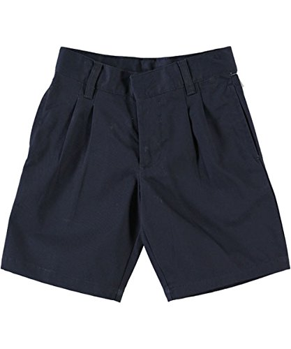 - French Toast Pleated Front Unisex Twill Short with Adjustable Waist - navy, 14