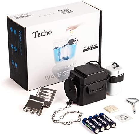"Techo Touchless Toilet Flush Kit with 8"" Sensor Range, Adjustable Sensor Range and Flush Time, Automatic Motion Sensor Toilet Flush Kit Powered by way of Batteries"