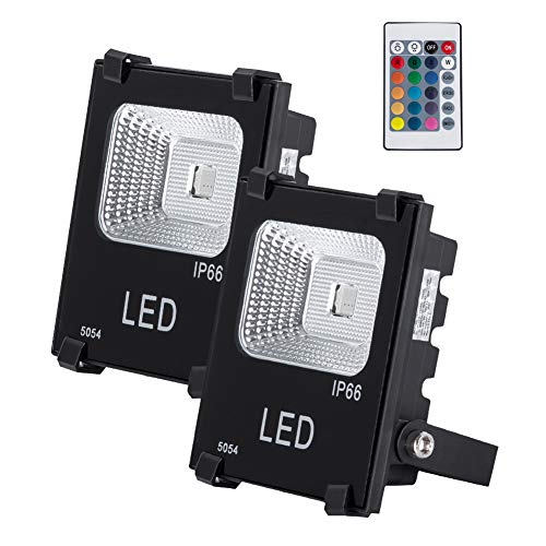 GM Lighting Outdoor RGB Remote LED Flood Lights 10W,1000Lm, Multi-Colors Security Work Lights, Halogen Bulb Equivalent, IP66 Waterproof for Garage, Garden and Yard, 2 Pack (16 Colors,4 Modes)
