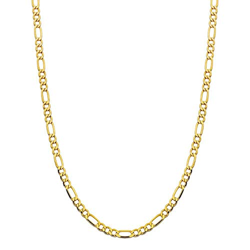- 14K Yellow Gold 4.0mm Thick Figaro Link Chain Necklace- Made In Italy- Multiple Lengths Available (22)